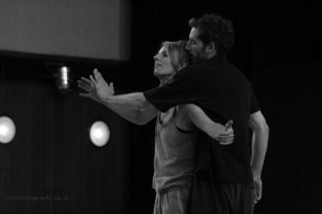 Greig Cooke and Antonia Grove in rehearsal for Probe Project's Running on Empty