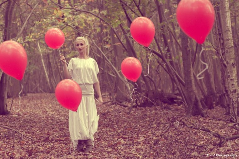 Balloons and lady