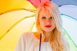 Vaida with colourful umbrella