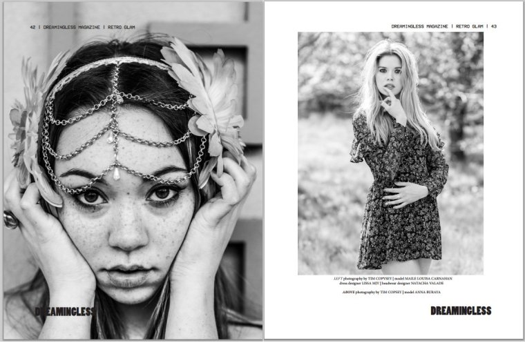 Dreamingless Magazine June 2015.  Models Maile Louisa Carnahan and Anna Buraya