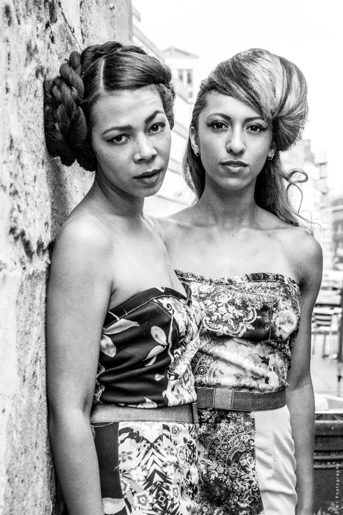 Francisca Serrette and Tanya-Marie Duodu wearing Mary Martin. Photographer Tim Copsey