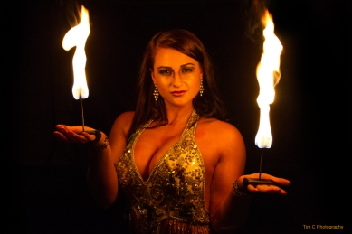 Fire performer Daniella Bavetta - Helen Scott Events
