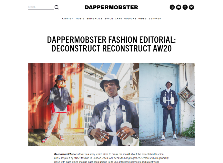 DapperMobster Fashion Editorial Deconstruct Reconstruct AW20 - Editorials